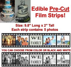 Pre Cut EDIBLE Film Reel Strips for Cakes Pictures Photos Film Strips Wedding