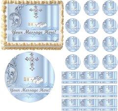 Boy Baptism Christening Communion Religious Cross Edible Cake Topper Image Frosting Sheet