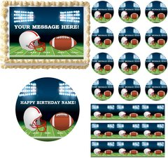 FOOTBALL Field Helmet Football Theme Edible Cake Topper Image Frosting Sheet