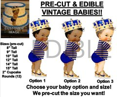 PRE-CUT Little Prince Royal Blue Gold Stripe Shirt Edible Cake Topper Image Cupcakes