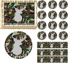 Camouflage Deer Hunting Camo Edible Cake Topper Image Frosting Sheet