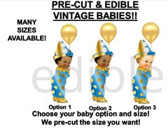 PRE-CUT Little Prince Clown Costume Balloon EDIBLE Cake Topper Image Cupcakes