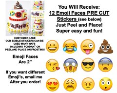 Emoji Faces Edible Cake Stickers Emoticon Cake Cut Outs Edible Decals for Cake