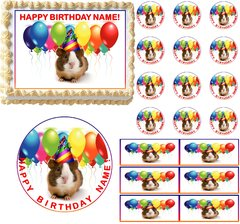 GUINEA PIG Wearing Party Hat Edible Cake Topper Image Frosting Sheet