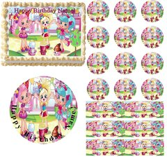 Cute SHOPKINS SHOPPIES Edible Cake Topper Image Frosting Sheet