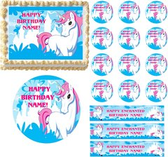 Magical ENCHANTED UNICORN Edible Cake Topper Image Frosting Sheet