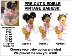 PRE-CUT Pink Shirt Gold Ruffle Pants Nike Shoes Baby Girl EDIBLE Cake Topper Image