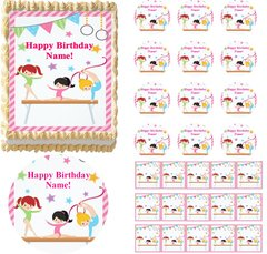 GYMNASTICS Girls Gymnast Tumbling Beam Edible Cake Topper Image Frosting Sheet