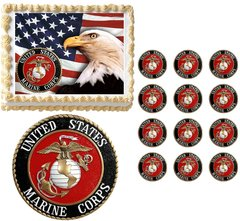 United States MARINE CORPS Military Edible Cake Topper Image Frosting Sheet