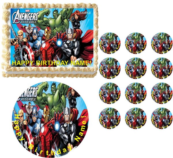 AVENGERS Party Edible Cake Topper Image Frosting Sheet ...