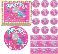 Let's Roll ROLLER SKATING Skates Edible Cake Topper Image Frosting Sheet