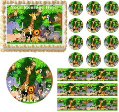 JUNGLE SAFARI ANIMALS Edible Cake Topper Image Frosting Sheet