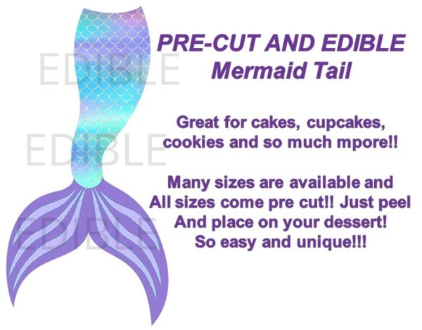 Pre Cut Mermaid Tail Turquoise Teal Purple EDIBLE Cake Topper Image Cupcakes
