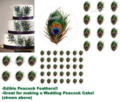PEACOCK FEATHERS Peacock Wedding Edible Cake Topper Image Frosting Sheet