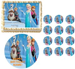 FROZEN CHARACTERS on Snowcap Edible Cake Topper Image Frosting Sheet