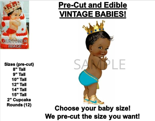 PRE-CUT Afro Prince Wearing Sneakers EDIBLE Cake Topper Image Turquoise Gold Diaper Gold Crown