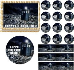 Doctor Who TARDIS Space Edible Cake Topper Image Frosting Sheet