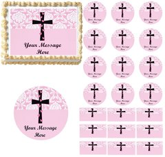 Girl Baptism Christening Religious Cross Edible Cake Topper Image Pink Damask
