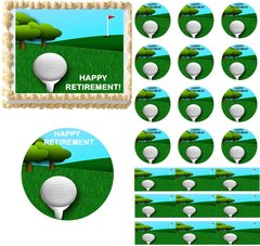 Happy Retirement Edible Cake Topper Image Cupcakes Cookies Golf Retirement Cake