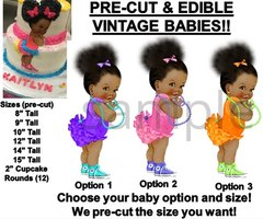 PRE-CUT Bright Colors Ruffle Pants Afro Buns Babies EDIBLE Cake Topper Image Bow