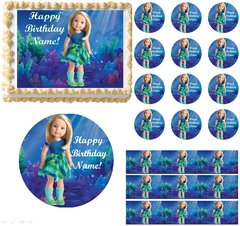 American Girl Doll CAMILLE Mermaid Edible Cake Topper Image Cake Decoration Cupcakes Cookies