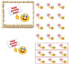 Emoji Holding Sign Emoticon Edible Cake Topper Image, Emoji Cupcakes, Emoji Party Supplies, Emoticons Cake, Emoticons Cupcakes, Edible Cake