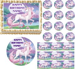 Magical UNICORN FANTASY Party Edible Cake Topper Image Frosting Sheet