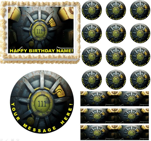 Fallout 4 Vault Gaming Edible Cake Topper Image Frosting