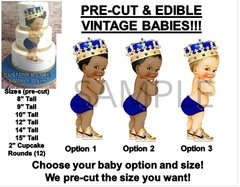 PRE-CUT Royal Blue Diaper Gold Shoes Crown Little Prince EDIBLE Cake Topper Image