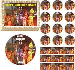 FIVE NIGHTS AT FREDDY'S World Party Edible Cake Topper Image Frosting Sheet