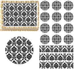 Black and White Damask Edible Cake Topper Image Frosting Sheet Wedding Cake