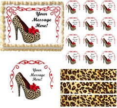 Bachelorette HIGH HEEL SHOE Cheetah Theme Edible Cake Topper Image Frosting Sheet