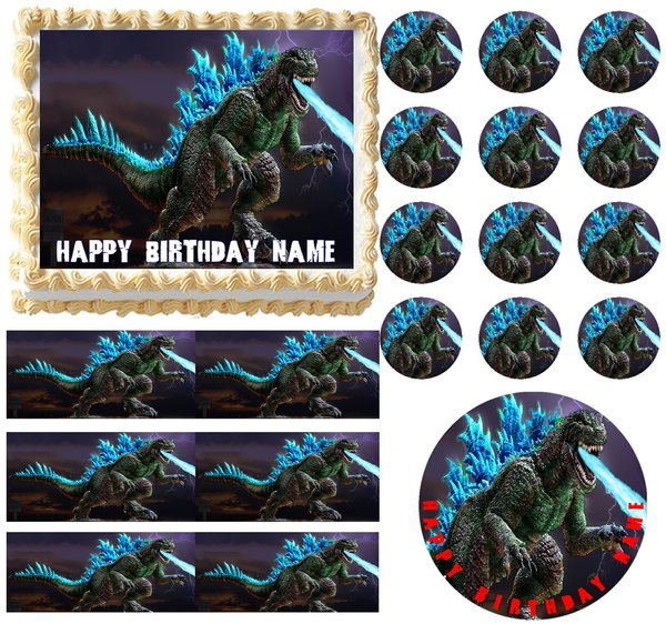 Godzilla Monster Breathing Fire Edible Cake Topper Image