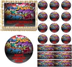 Grunge Graffiti Wall Edible Cake Topper Image Frosting Sheet Cupcakes