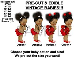 Pre-Cut PRE-CUT Ladybug Wings Afro Puffs Bun Vintage Baby Girl EDIBLE Cake Topper Image