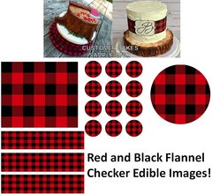 Red and Black Flannel Checker Edible Cake Topper Image Gingham Print Cake Edible
