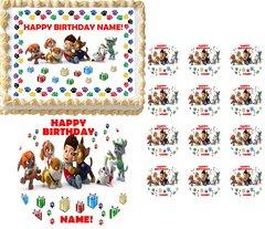 PAW PATROL Puppy Print Border Edible Cake Topper Image Frosting Sheet