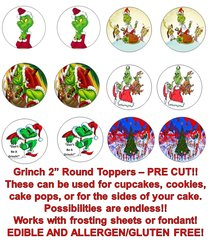 HOW the GRINCH STOLE CHRISTMAS GRINCH Edible Cupcake Cookie Toppers!