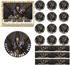 Overwatch REAPER Gaming Edible Cake Topper Image Frosting Sheet Cake Decoration