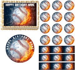 Baseball Fire Water Sports Edible Cake Topper Image Frosting Sheet Cupcakes