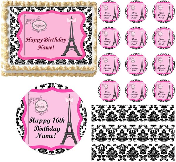 Black And White Paris Damask Eiffel Tower Bonjour Edible Cake Topper Image Frosting