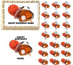 All Star Sports Edible Cake Topper Image Frosting Sheet Football Soccer Baseball