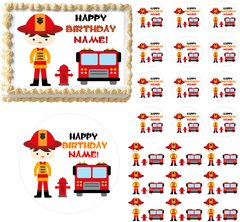 Firefighter BOY Fire Truck Theme Edible Cake Topper Image Frosting Sheet