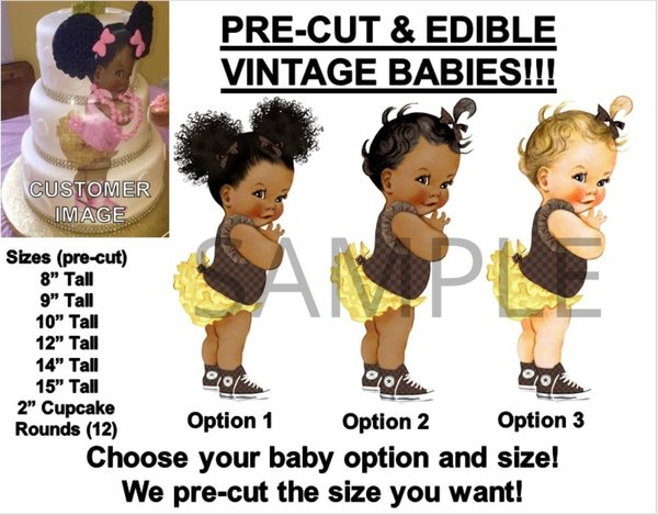PRE-CUT Brown Checkered Yellow Ruffle Pants Baby EDIBLE Cake Topper Image Sneakers
