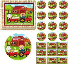 Barnyard Animals Farm House Edible Cake Topper Image Frosting Sheet Cupcakes