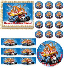 HOT WHEELS Race Car Theme Edible Cake Topper Image Frosting Sheet