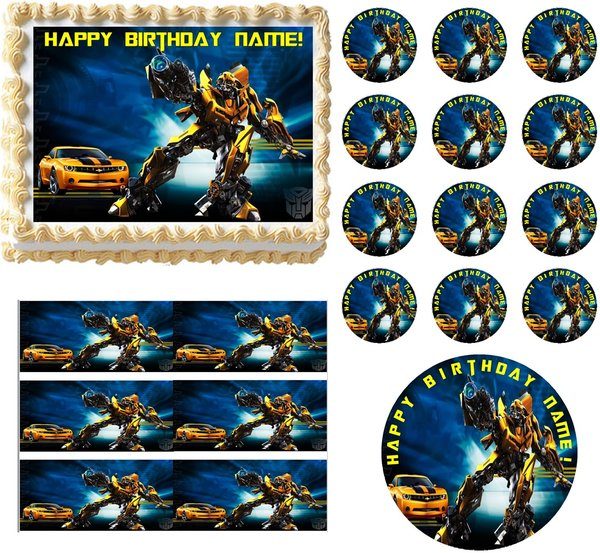 transformers wedding cake toppers transformers bumblebee edible cake topper image frosting 21240