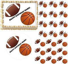 Football Basketball Sports Edible Cake Topper Image Frosting Sheet