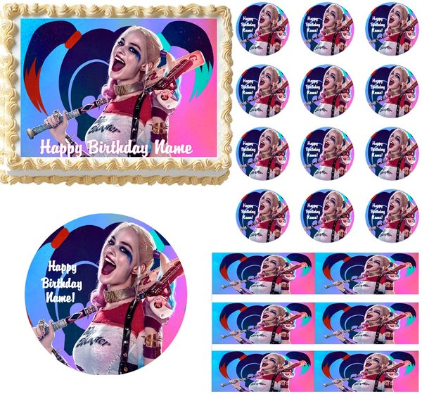 Suicide Squad Harley Quinn Edible Cake Topper Image