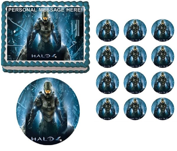 Halo 4 Master Chief Edible Cake Topper Image Frosting Sheet Edible